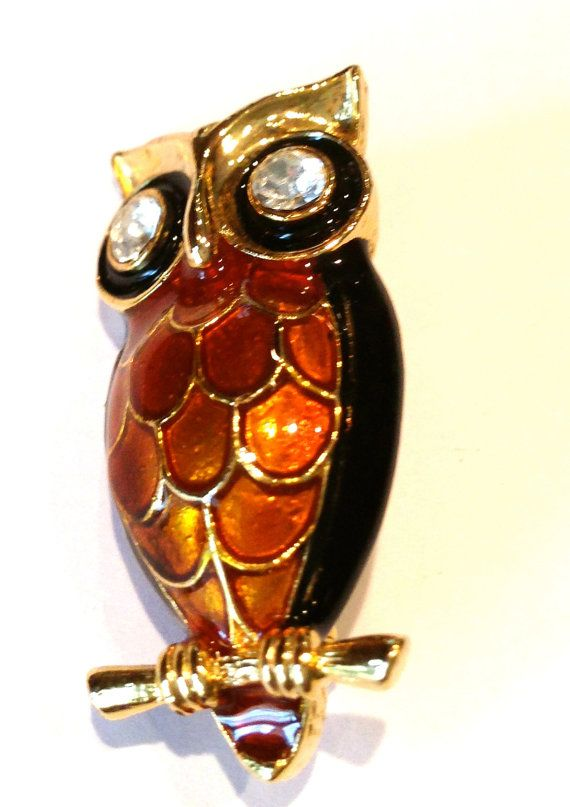 Owl Pin Brooch Thanksgiving pin by oodlesofrandomstuff on Etsy