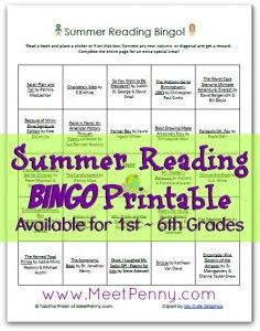 Free Summer Reading Bingo Printable with Reading Lists for Grades 1-6