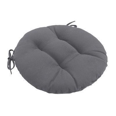 Wayfair Custom Outdoor Cushions Knife Edge Outdoor Round Dining Chair Cushion Tufted with Ties Fabric: F