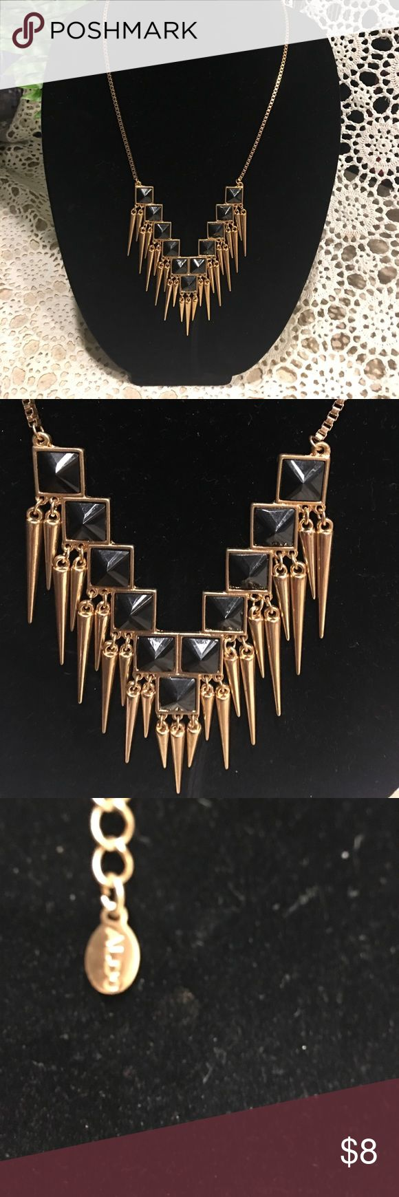 Also Statement Necklace A fun EUC Statement Necklace. Black and gold tone. Lobster claw adjustable clasp.  See pictures for length.  From a pet free smoke free home. Aldo Jewelry Necklaces