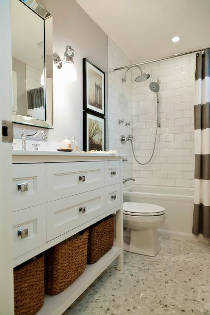 gorgeous bathroom - white with natural elements - grey striped shower curtain <3