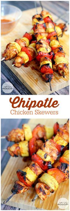 Chipotle Chicken Skewers - Mouthwatering recipe for Chipotle Chicken Skewers made on the barbecue. It's perfection on a stick!