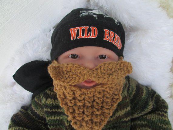 NB Long Beard Camouflage baby bearded hat knit by Ritaknitsall