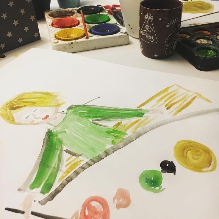 Hetki rentoilua yhdessä erIllään. Lapsi maalasi. Maalasin lapsen maalaamassa.  #lauantai #lastenkanssa #yhdessäoloa #saturday #akvarelli