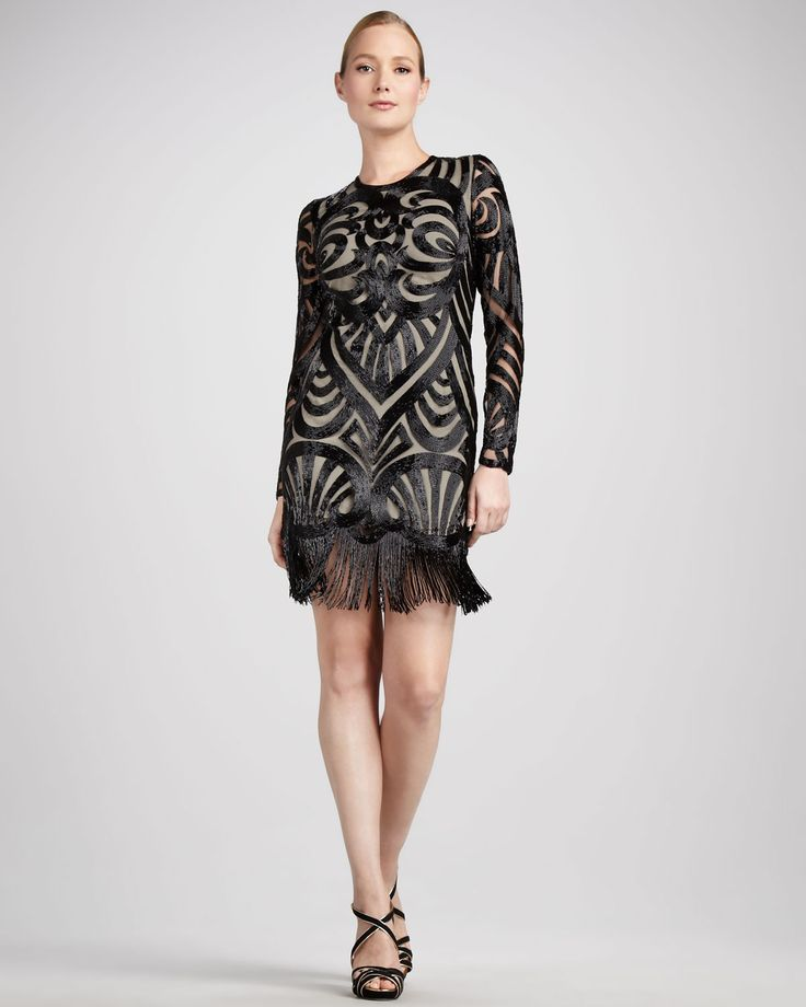 Naeem Khan Beaded Long-Sleeve Cocktail Dress Naeem Khan brings Art Deco  inspiration to this cocktail dress with masterful beading and a fringe hem.