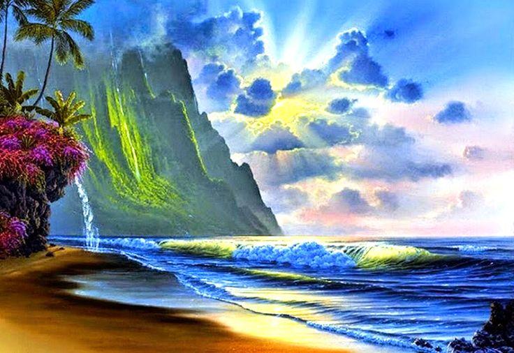 cuadro pintura paisajes bonitos de verano playa paradisiaca exotica aerea imagen foto wallpaper