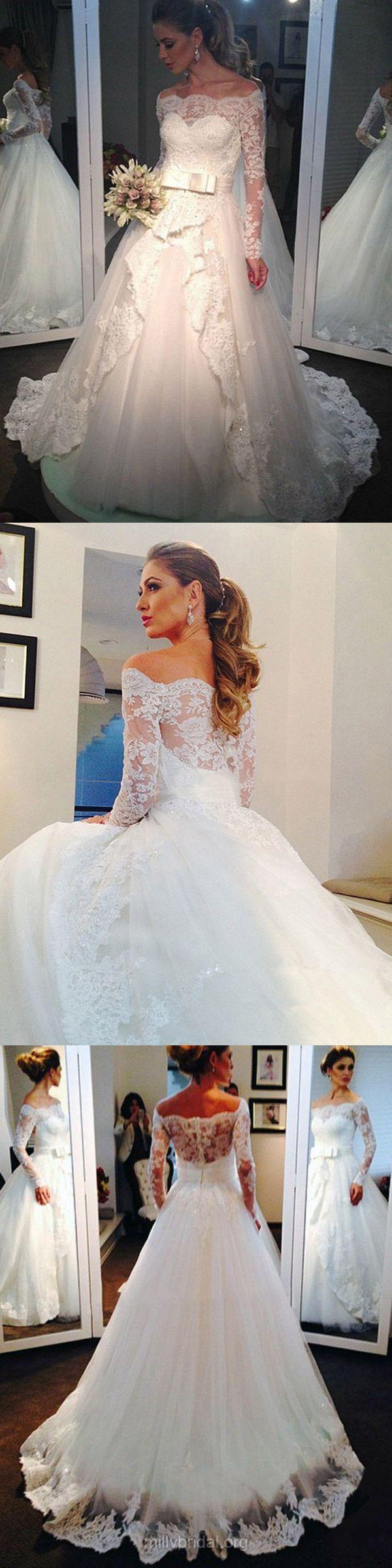 Princess Wedding Dresses Lace, Long Sleeve Bridal Gowns Off-the-shoulder, Modest Wedding Dress Cheap