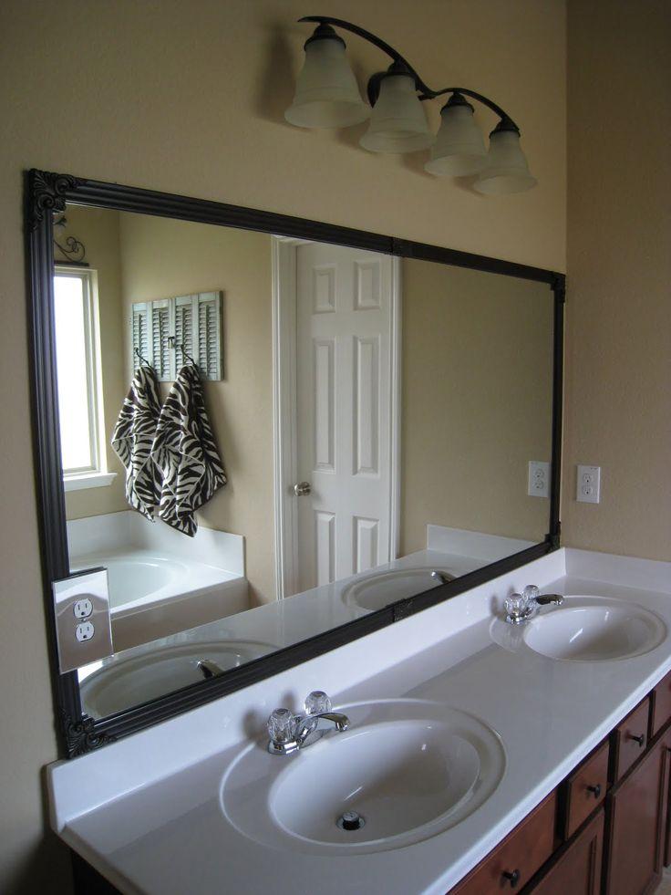 Framed crappy bathroom mirrors Bathroom