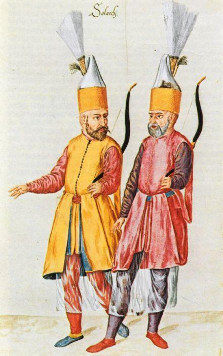 Une paire de Solaks, gardes du corps archer janissaire du Sultan ottoman