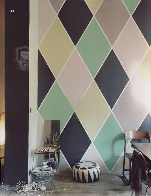 Diamond patterned wall...interesting. I think this would be pretty using different shades of same color for an accent wall in living room!