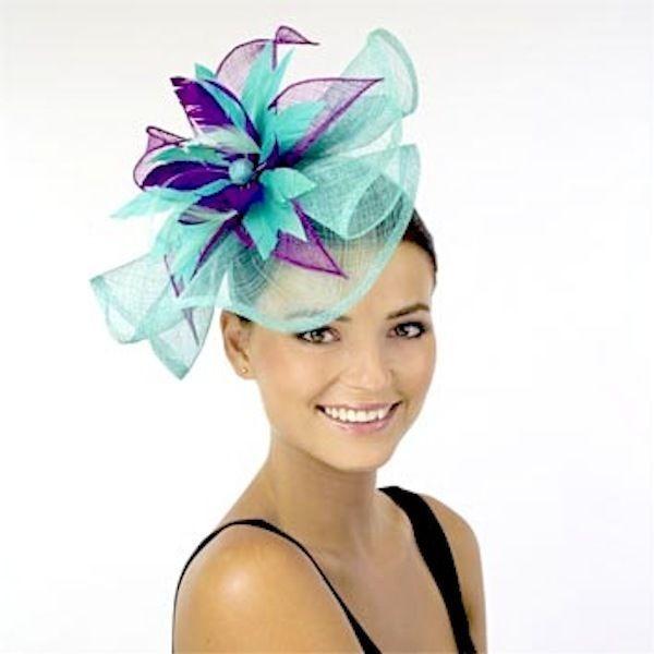 L@@K Ladies JENDI SPEARMINT & PURPLE Formal Spring Racing Fascinator Headband