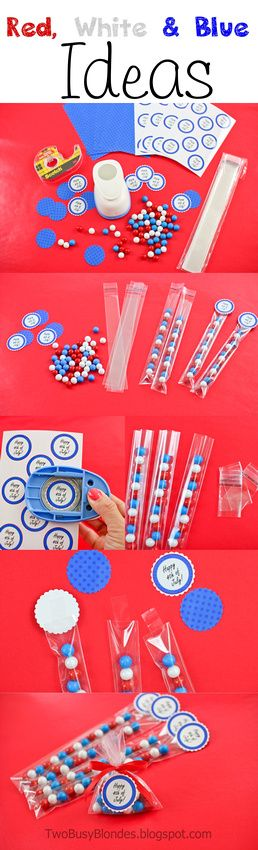 4th of July RED, WHITE & BLUE Party favors! FREE printable TAGS!