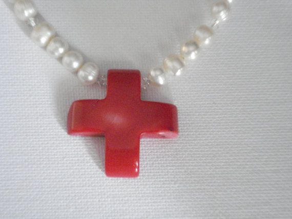 Coral cross necklace with freshwater pearls Religious by Poppyg