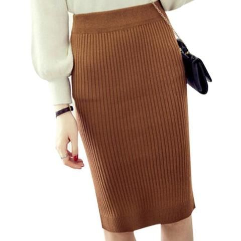 27466aee6 Vintage Winter Skirts Women Stretch Woolen Pencil Skirt High Waist Office  Lady Bodycon Skirts Saias Knee-Length Skirt Jupe ZY406