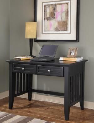 "Home Styles 5181-16 24"" x 42"" x 38.5"" Black Wood Arts and Crafts Student Desk"