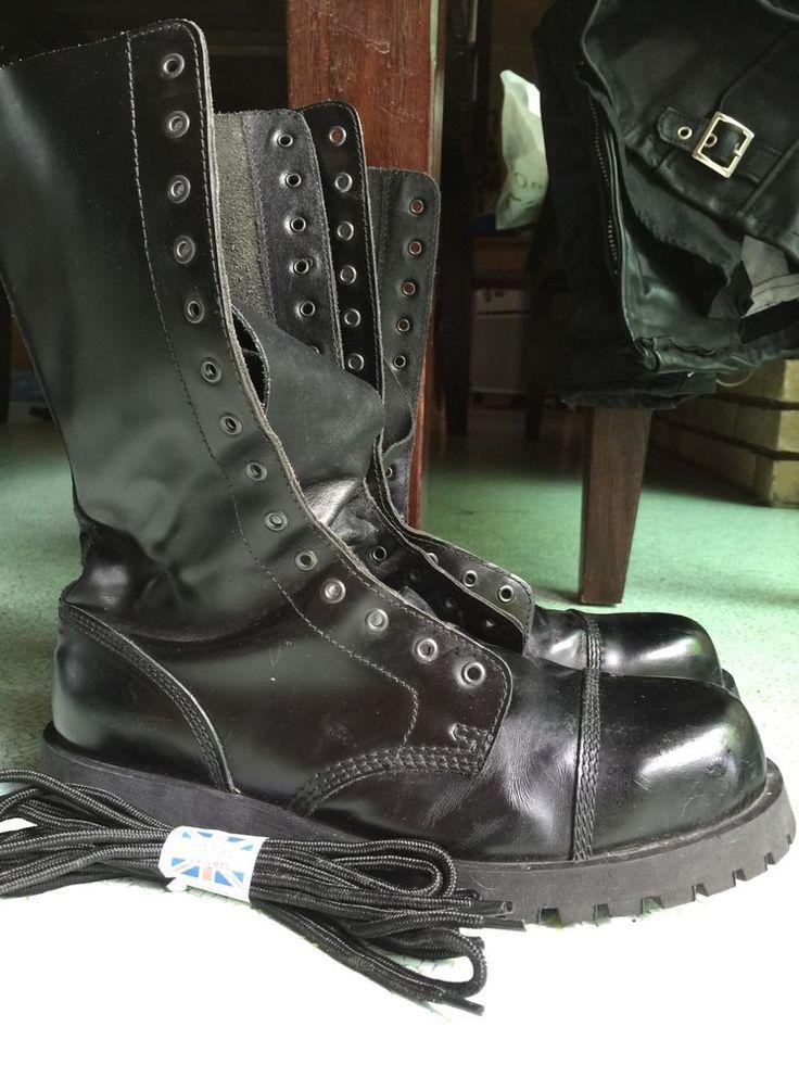 Boots & Braces 14 Eyelets US12 UK11 45 Steel Cap Toe #BootsBracesEngland #Military