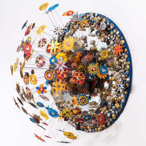 Michael Brennand-Wood – Flower Head- Narcissistic Butterfly 60, dia x 40 cm, 2005. Collection of the artist..  Floral textile artists