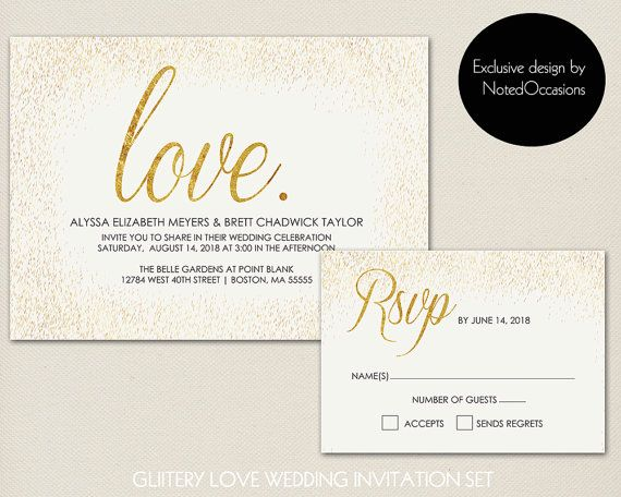 Printable Wedding Invitation Set  Gold Wedding by NotedOccasions