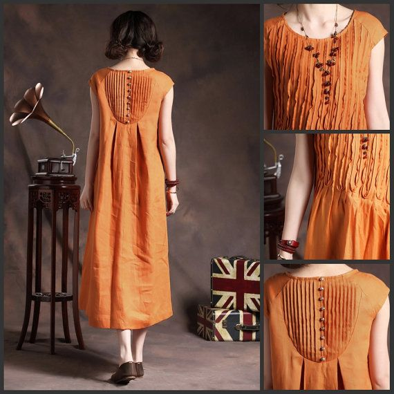 Ruffle Linen Dress in Orange / Long linen sundress by camelliatune