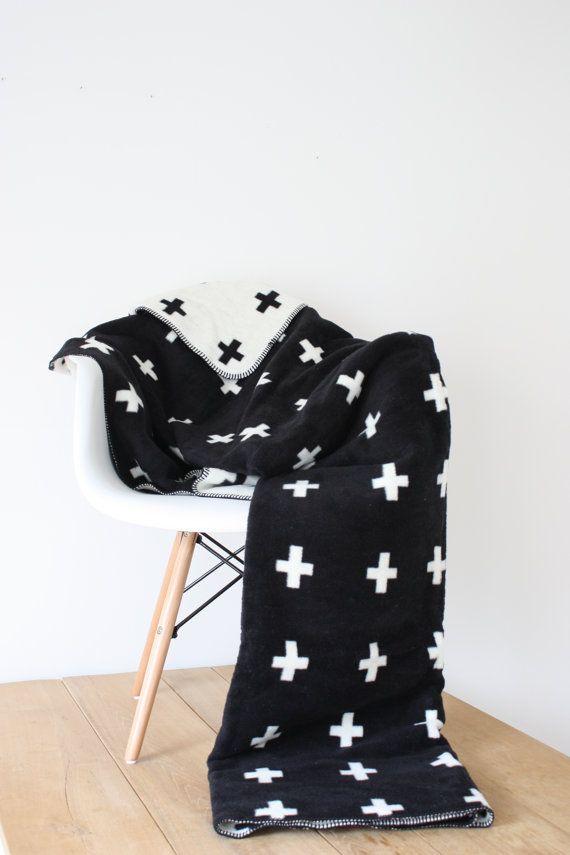 Swiss cross blanket, Black & White Blanket Throw, Scandinavian Blanket Style