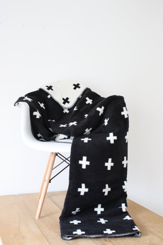 Hey, I found this really awesome Etsy listing at https://www.etsy.com/listing/271587504/swiss-cross-blanket-black-white-blanket