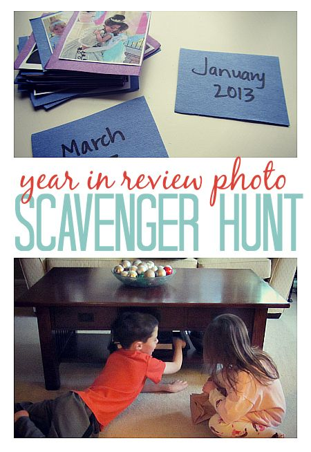 """Print out your memories and get your kids involved for a new year's activity. This """"Year in Review Photo Scavenger Hunt"""" is a great way to keep them busy while looking back on favorite moments."""