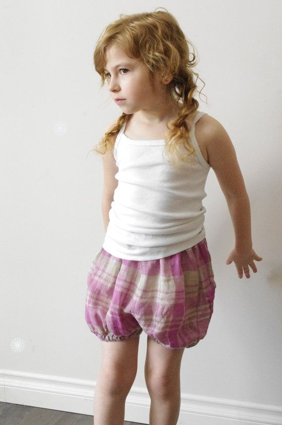 Girls pink plaid linen bloomers