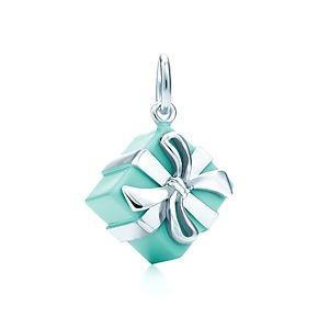 Tiffany Blue Box® charm in sterling silver with Tiffany Blue® enamel finish. $250