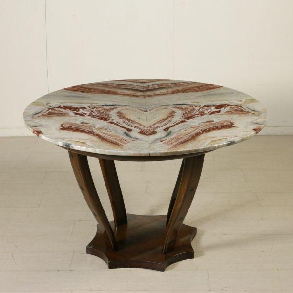Tavolo anni 40-50; legno tinto noce, piano in marmo.