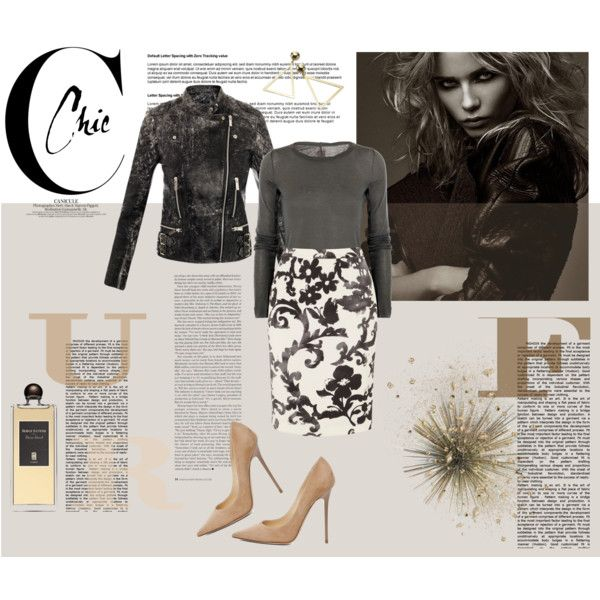 """""""Daim blond"""" by izabelmaz on Polyvore _____ Rick Owens Cotton-jersey top, Christopher Kane Cracked leather biker jacket, Moschino Cheap and Chic Printed Pencil Skirt, Jimmy Choo Anouk Suede Pumps in Nude and Serge Lutens Daim Blond"""