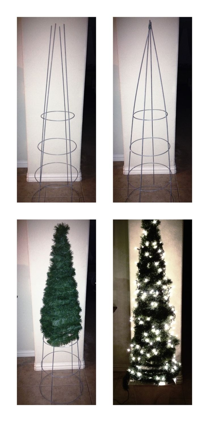 Tomato cage turned into front porch Christmas tree! Looks like you simply use a tomato cage, garland, and Christmas lights! So easy, simple, and cheap!