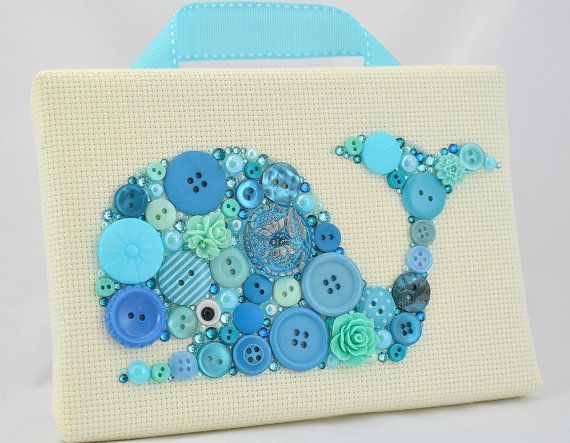Blue Whale  Button Art Vintage Buttons by PaintedWithButtons, $70.00
