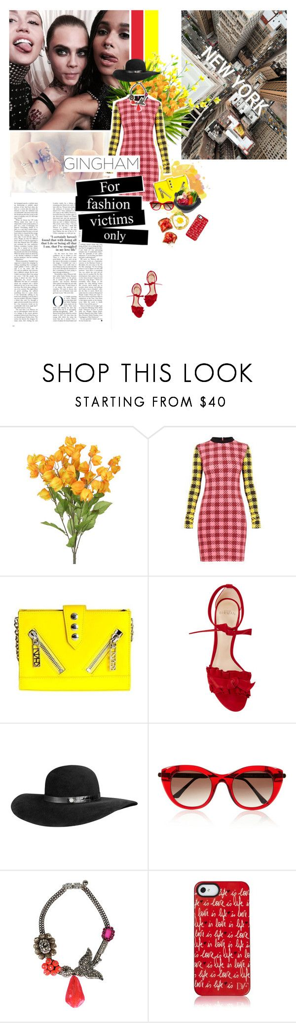 """Gingham VII"" by cheroro ❤ liked on Polyvore featuring Kenzo, Alexandre Birman, Thierry Lasry, Mambo, Shourouk and Diane Von Furstenberg"