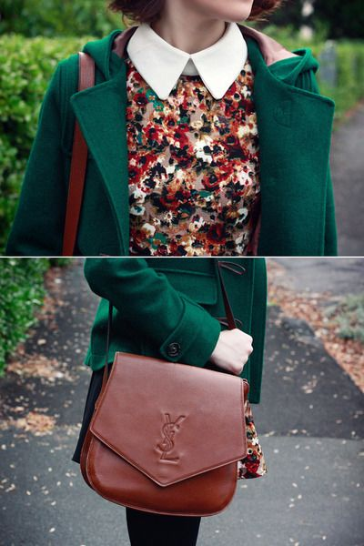 Floral print blouse with wide collar and jewel toned coat. Great look for fall or spring, depending on the colors.