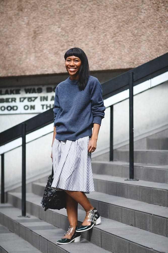 Kenya Hunt, Fashion Features Director Uniqlo jumper, Zara skirt, Toga shoes, Comme des Garçons bag