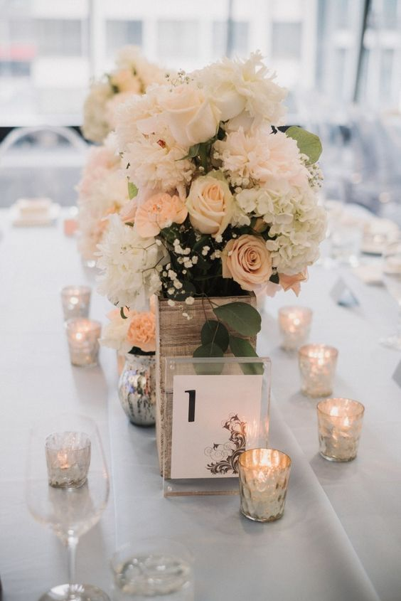 Chic blush and white floral design wedding reception centerpiece; Featured Photographer: TJ Tindale, Via Rebecca Chan Weddings & Events
