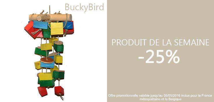 LE PRODUIT DE LA SEMAINE : -25% sur le BuckyBird. La promotion ne dure qu'une semaine :) http://www.rencard-des-plumes.fr/jouets-perroquets-14/grand-jouet-pour-perroquets-cuir-et-bois-buckybird-106.html