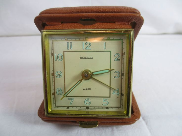 Vintage ALARM CLOCK MECHANICAL WIND-UP HECO Germany, Leather Shell, for Bedroom