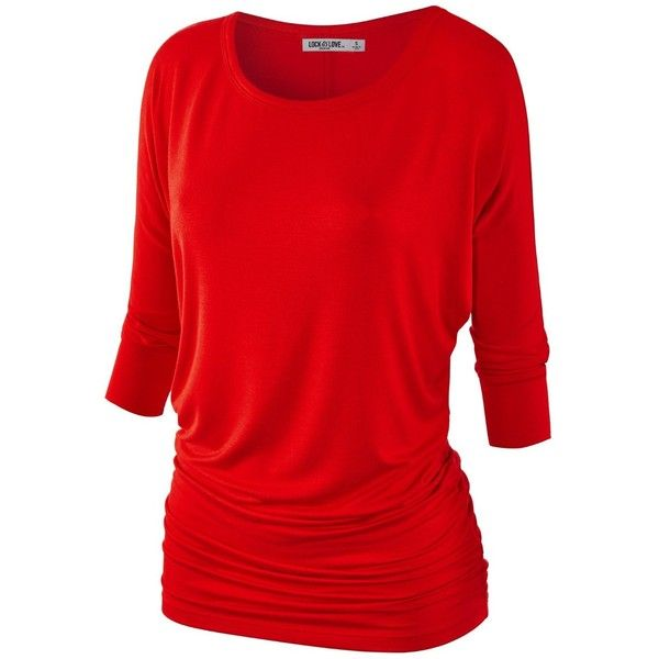 MBJ Womens 3/4 Sleeve Drape Top SIDE SHIRRING ($9.95) ❤ liked on Polyvore featuring tops, red ruched top, gathered top, drape top, red top and shirred top