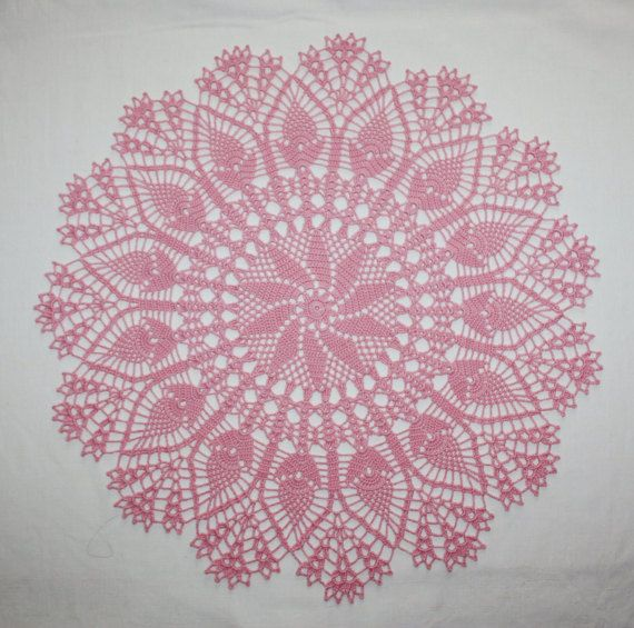 Gran rosa ganchillo tapete redondo encaje por HomeDecorByIryna