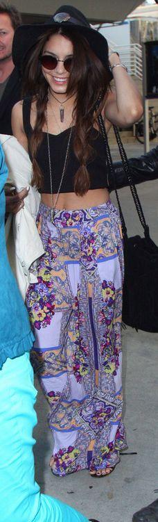 Who made  Vanessa Hudgens' purple print pants?