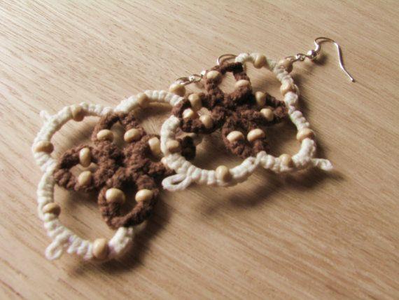 Tatted earrings lace earrings dangle earrings by FarbotyKnoty #TEAMPINTEREST