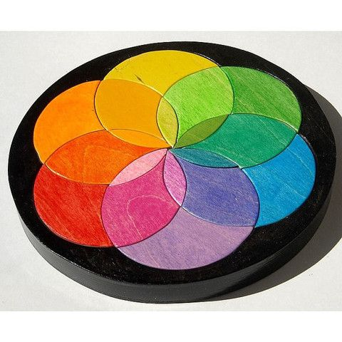 Color Wheel Wooden Puzzle - Waldorf Inspired - Handmade