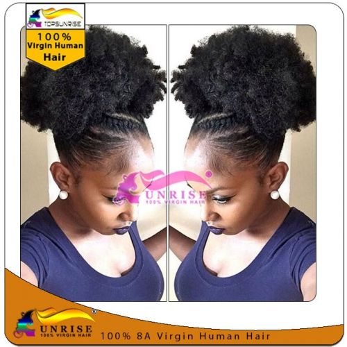 Top quality virgin peruvian hair  wrap around hair ponytail afro kinky curly,100g/120g/140g drawstring hair ponytail free shipping