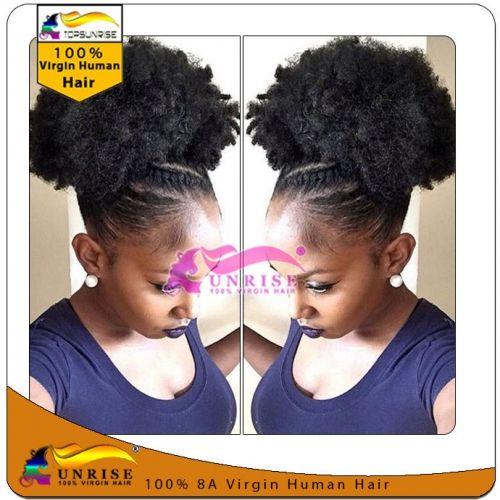 Top quality virgin peruvian hair  wrap around hair ponytail afro kinky curly,100g/120g/140g drawstring hair ponytail free shipping