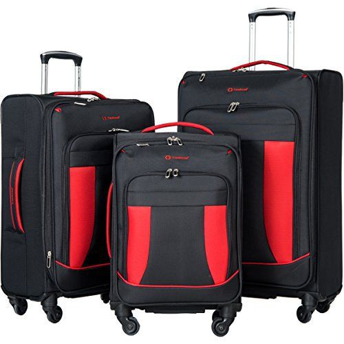 New Trending Luggage: Travelhouse 3 Piece Softshell Deluxe Expandable Spinner Luggage Set (Black with Red). Travelhouse 3 Piece Softshell Deluxe Expandable Spinner Luggage Set (Black with Red)   Special Offer: $119.99      166 Reviews Constructed of lightweight and durable tear-resistant fabrication, the set is perfect for all of your travel needs. High visibility gray interior lining and tie...