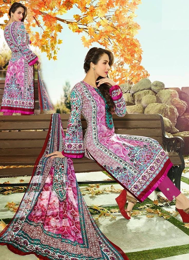 Pink Lavish Cotton Churidar Suit With Printed Work