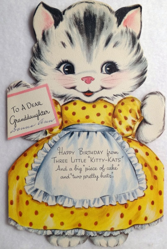 145 Kitty Cat Paper Doll Vintage Gibson Birthday Tri Fold Diecut Greeting Card