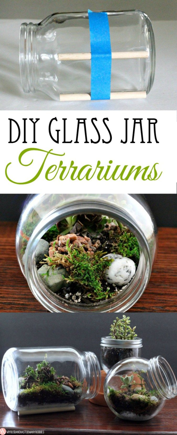 DIY Glass Jar Terrariums Such a good idea with succulents! #Succulents #Terrariums #Minature