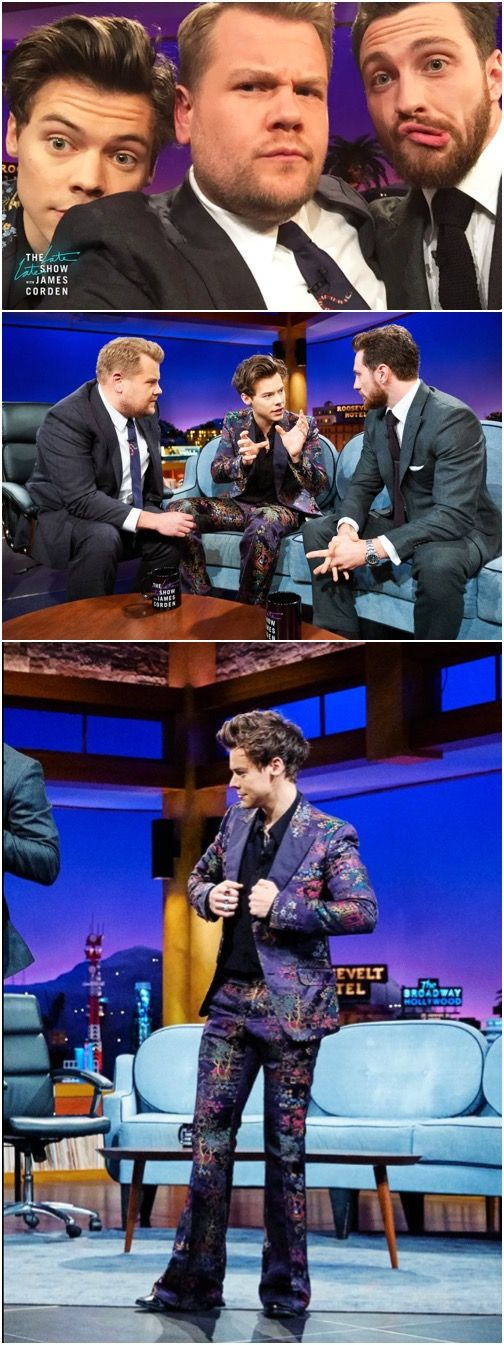 NEW | More Great Pics! Harry Week on The Late Late Show with James Corden. With Aaron Taylor Johnson. Follow rickysturn/harry-styles
